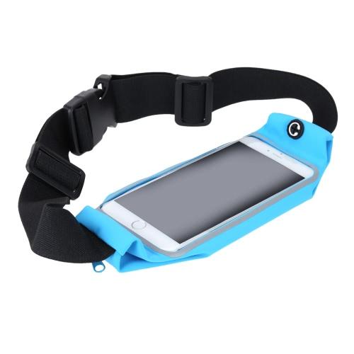 Casual Waist Sport Running Pouch Pack Bag Sweatproof Purse Mobile Phone Wallet Zipper Case Holder with Belt for 5