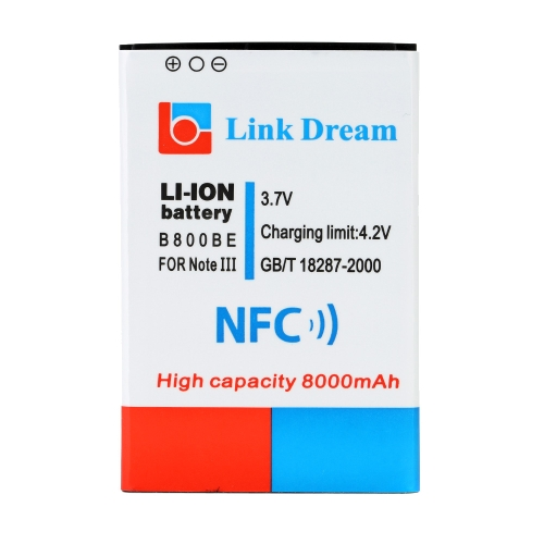 Link Dream 3.7V 8000mAh High Capacity Rechargeable Li-ion Battery Replacement for Samsung Galaxy Note III / Note 3 / N9000 (B800BE) with NFC & Cover Back Door