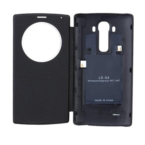 チーワイヤレス チャージャー レシーバー 電話ケース プラスチック PUレザー NFC スマートカバー  LG G4 H811 H815 NFC用