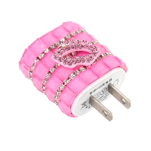 DIY Rhinestone Original Adaptive Charger USB Travel Wall Adapter 5V 1A with Micro USB Data Cable for iPhone 6 6 Plus 6S 6S Plus Samsung HTC Huawei