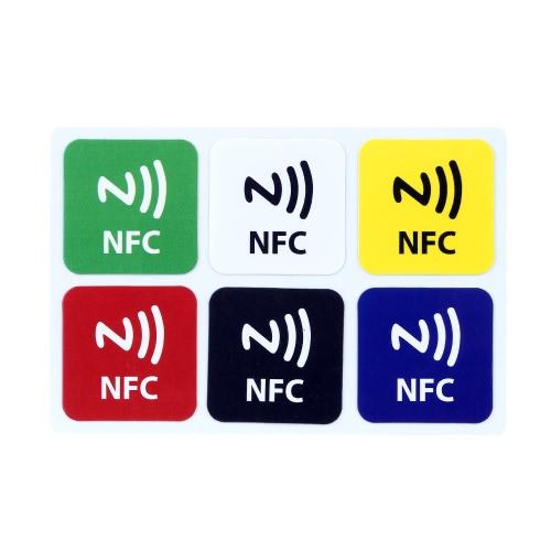 6pcs/lot Autocollants Smarts d'Etiquette NFC Ntag216 888Bytes pour Samsung Galaxy S6 S5 Note 3 Nokia Lumia 920 Sony