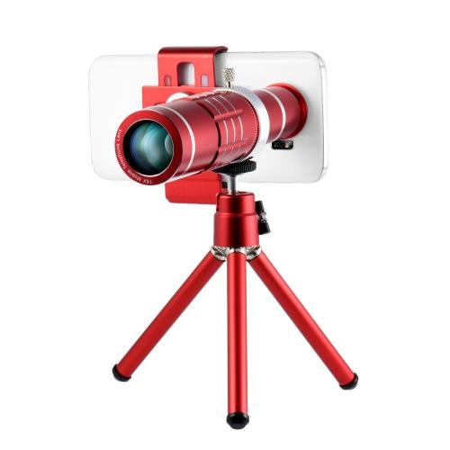 Universal 18X Zoom Phone Teleobjectiva Lente de Câmera com Mini Tripé para iPhone Acessórios Samsung HTC Photography