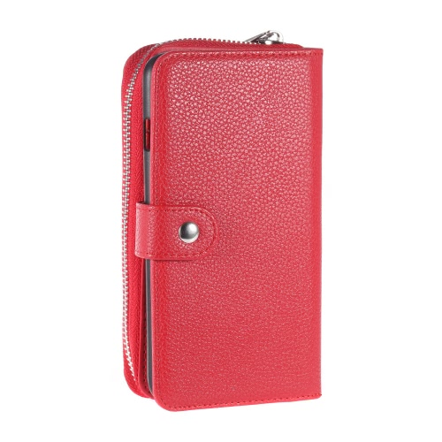 KKmoon 2 em 1 Zipper Caso Wallet tampa do telefone PU protetora de couro Folio destacável flip Shell coldre Carrying Titular Case para iPhone 6 Plus 6S Além disso 5.5inch