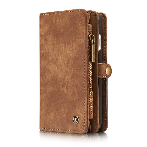 CaseMe 2 em 1 Zipper Caso Wallet tampa do telefone PU protetora de couro Folio destacável flip Shell Holster Estojo titular do cartão para o iPhone 7 4.7inch
