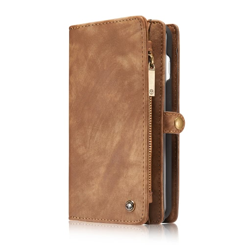 CaseMe 2 em 1 Zipper Wallet Telefone caso capa PU protetora de couro Folio destacável flip Shell coldre Carrying Titular Case para iPhone 7 Plus 5.5inch