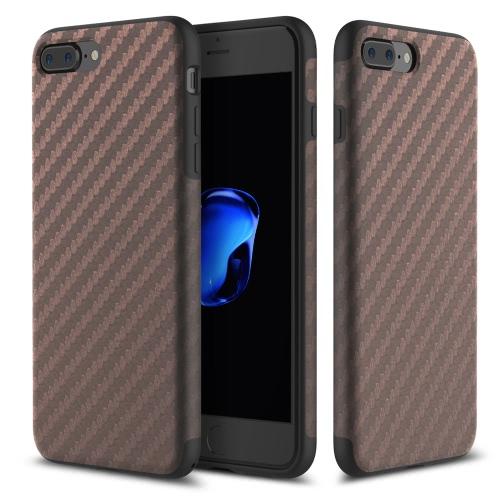 ROCK Carbon Fiber Grain TPU Téléphone Case 360 degrés complet Protect Phone Housse de protection Shell souple de haute qualité pour iPhone 7 Plus 5.5inch