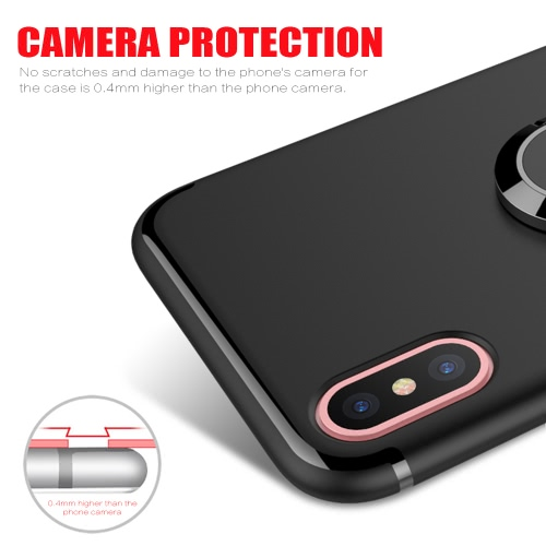 Phone Case Cellphone Case Protective Shell Back Cover with 360° Rotation Finger Ring Holder for iPhone X