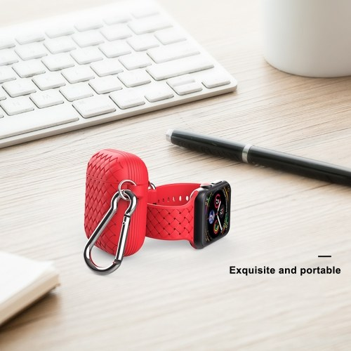 Woven Pattern Series Protective Cover for Air Pods Protection Red