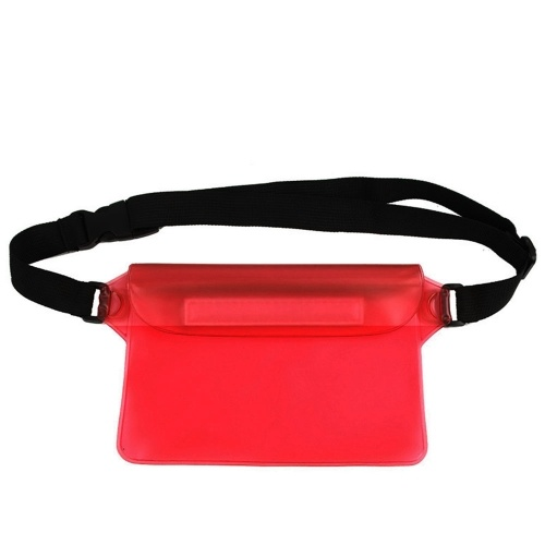Waterproof Outdoor Swimming Drifting Pouch Dry Bag PVC Waist Phone Cover Storage Protective Bag Red