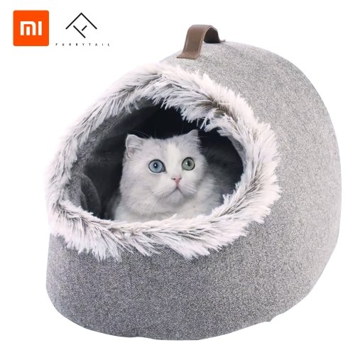 Xiaomi Youpin Cat Pet Soft Bed Four Seasons Universal Semi-Cerrado Cat Winter Warm Nest Soft Plus Velvet Deep Sleep Mat Pad Pet Nest Cat Tienda de campaña Cama