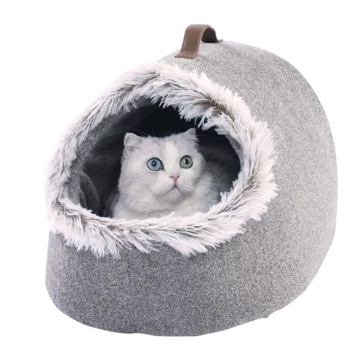 Xiaomi Youpin Cat Pet Soft Bed Four Seasons Universal Semi-Closed Cat Winter Warm Nest Soft Plus Velvet Deep Sleep Mat Pad Pet Nest Cat Tent Bed