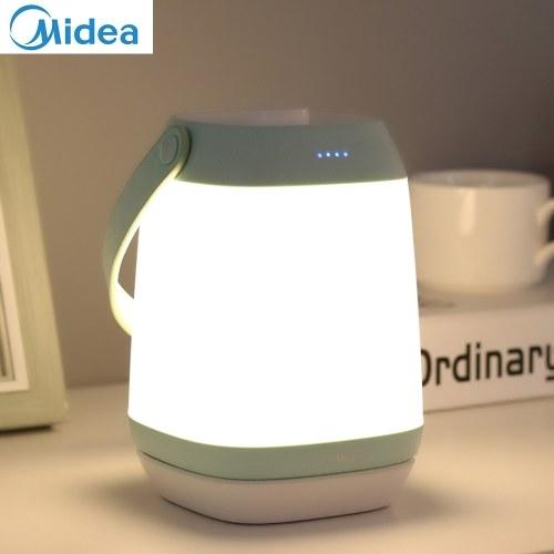 Midea tragbare Lampe Nachttischlampe mit 3000K warmem Licht / 1800mAh wiederaufladbarer Akku stufenlos dimmbare Nachtlichtunterstützung Fernbedienung für Schlafzimmer Outdoor Camping Verwendung