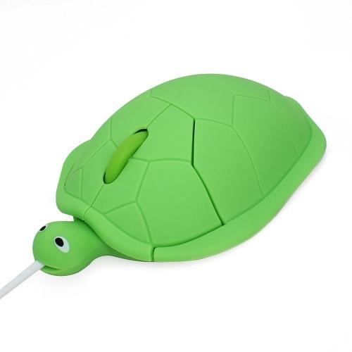 Mouse cablato a forma di tartaruga Simpatico mini mouse per laptop Sensore ottico 1600 DPI / 3 pulsanti / Design ergonomico / Mouse per computer alimentato tramite USB per Windows PC Laptop Gamer Ufficio / Uso domestico