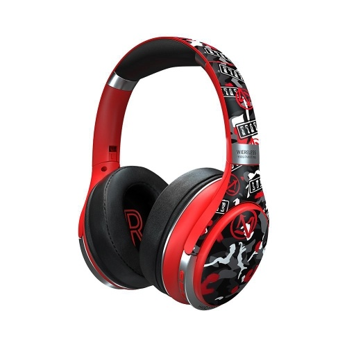 Wireless BT Headphone Hand Drawn Style Over-Ear Wireless HeadsetswithMIC Comfortable Imitation-Protein Earpads Deep Bass Support TF Card/Aux-in/BT Connection for Gaming Sports Music CompatiblewithiOSAndroid