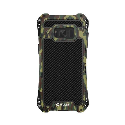 Telefone R-JUST Series AMIRA Tri-Metal prova caso 360 graus Proteja Back Cover Shell de protecção de alta qualidade com protetor de tela de vidro temperado para Samsung Galaxy S8