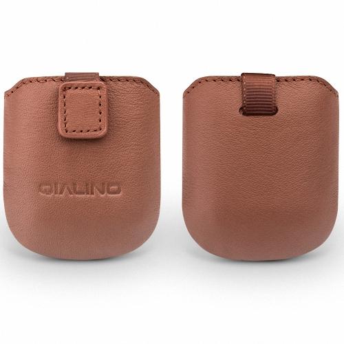 QIALINO Estojo de proteção de couro genuíno para Airpods Head Layer Cowhide Hand-made Soft Absorption Magnetic Design Case