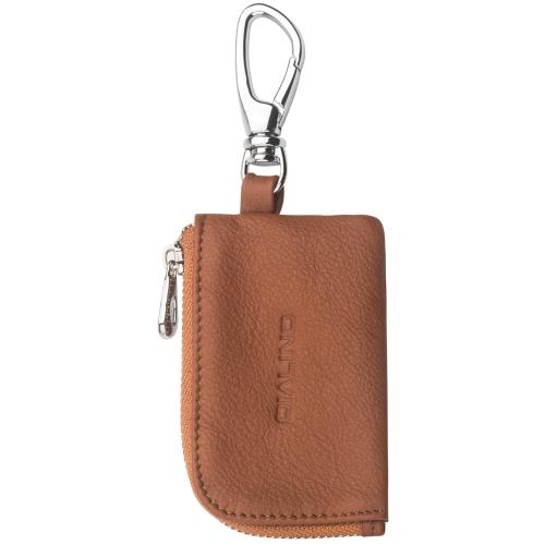 QIALINO Mini Véritable Sac de Protection en Cuir pour Airpods Écouteur Câble de Charge Portable Zippered Cas de Stockage