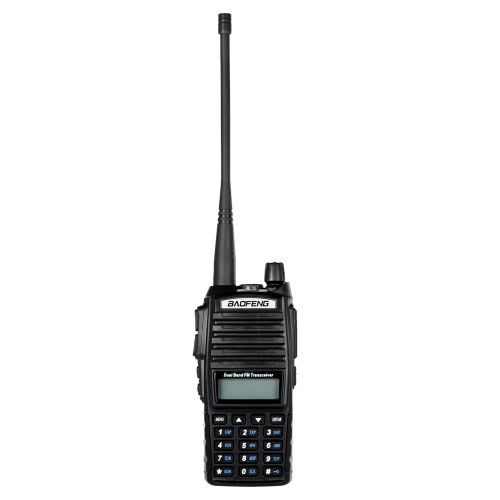 Baofeng origine UV-82 VHF / UHF Dual Band de poche Transceiver Interphone avec écran LCD Récepteur radio FM 5W 128 canaux mémoires alarme CB Radio double PTT Key Launch DTMF Encode vocale d'urgence Diffusion VOX Fonction Économie batterie LED Flashlight Talkie Walkie