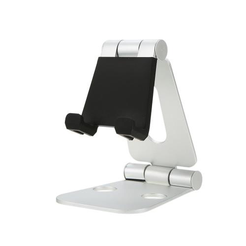 Suporte de alumínio universal portátil dupla flexível Suporte de telefone celular multi-angular ajustável Suporte de doca para tabletas de smartphones