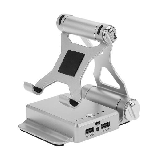 Base portatile pieghevole 2 in 1 Supporto stand a tavoletta del telefono Supporto regolabile del bacino del telefono cellulare e banca di potenza 10400mAh con due porte di ricarica USB Caricabatteria esterna Caricabatteria da tavolo