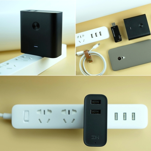 Original Xiaomi ZMI 2 in1 QC3.0 Dual USB Wall Charger with 6500mAh Power Bank for Mobile Phone US Plug (Black)