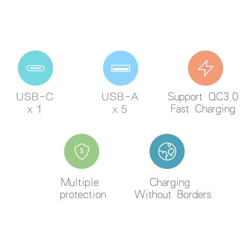 Xiaomi USB Fast Charger 60W Fast Charging 6 Ports QC 3.0 Output Portable US Plug (White)