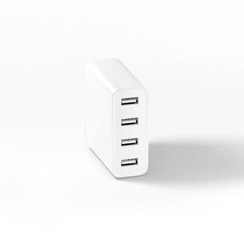 Caricabatterie USB Xiaomi 4 Porte Caricabatterie veloce Uscita QC 3.0 Portatile Universale durevole Plug Spina USA (Bianco)