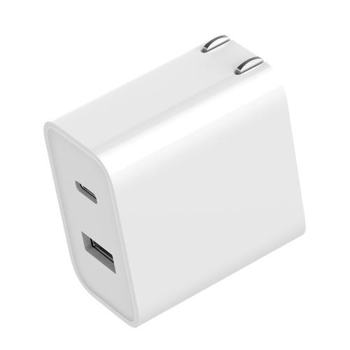 Xiaomi USB Fast Charger 30W 1A1C Adaptador de corriente de enchufe plegable de EE. UU. Con USB-A USB-C Enchufe plegable Adaptador de viaje para el hogar Convertidor Cargador de pared Conector AC100-240V para teléfono tableta