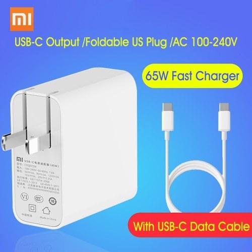 Xiaomi USB-C Charger 65W Adaptador de corriente con enchufe plegable de EE. UU. Mini cargador de viaje portátil de pared 100-240V para teléfono portátil