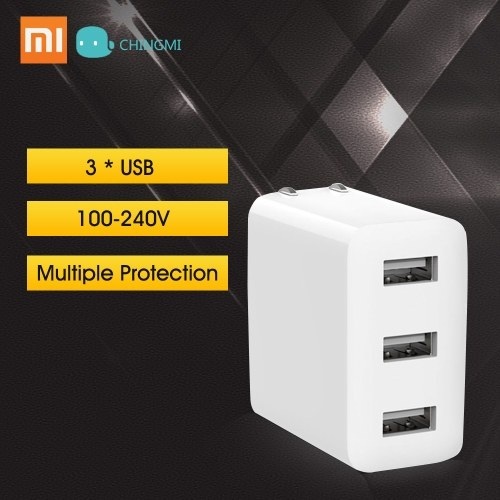Xiaomi Mijia Power Adapter Caricatore USB 3 USB 2A Ricarica rapida US Plug Mini Caricatore portatile da viaggio a parete 100-240 V Per telefono portatile Notebook 15 W 100-240 V