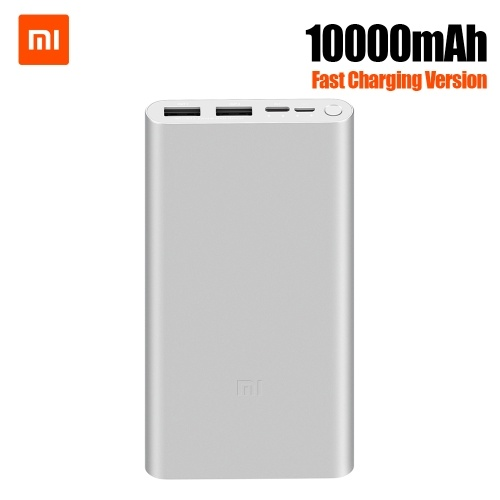 Xiaomi Mi Power Bank 3 10000mAh Fast Charging Version Traveling Charging Adapter Quick Charge Mobile Phone Powerbank with Micro USB USB-C Input with LED for iPhone Samsung Huawei Xiaomi PLM13ZM