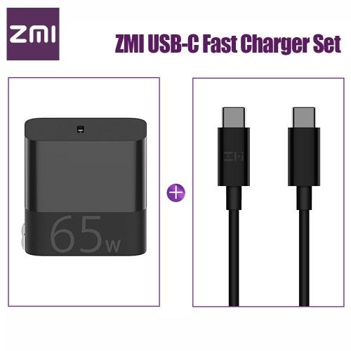 Xiaomi ZMI USB-C高速充電器65W、USB-C-USB-Cデータケーブル付き高速充電電源アダプター折りたたみ式プラグfor iPhone iPad MacBook Pro Xiaomi Notebook Air 100-240V HA712