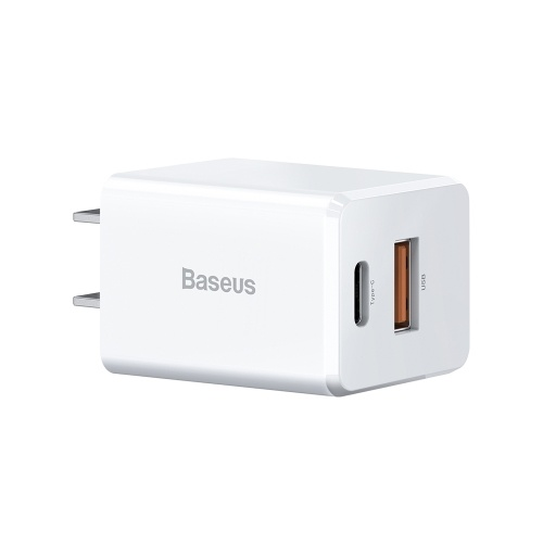 Baseus PPS Fast Charge 18W Dual Output Type C USB Wall Charger Adapter Compatible with iPhone 12 2020 Huawei Samsung iOS Android for Home Traveler(TC-075PQ)