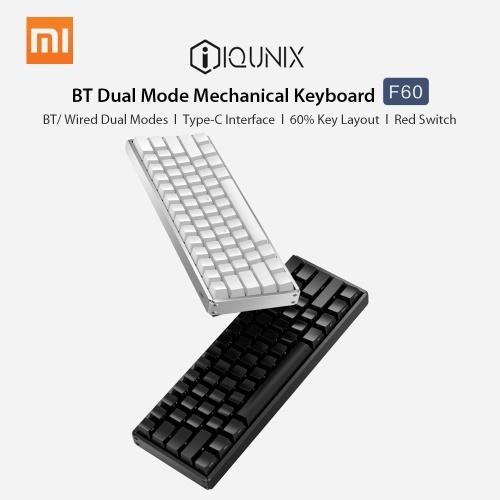 Xiaomi iQunix Механическая клавиатура F60 BT Dual Mode 61 Клавиши PBT Клавишная крышка Type-C Проводная клавиатура ноутбука для настольного ПК Красный переключатель фото