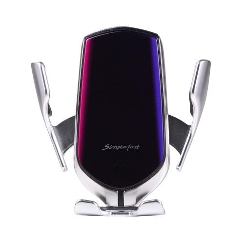 R2 Capteur intelligent Chargeur de voiture sans fil Auto-Induction Pince de serrage automatique Type-C Chargement du chargeur de voiture avec chargeur de câble Prise de sortie d'air Compatible avec iPhone Samsung HUAWEI et charge sans fil Smartphones pris en charge
