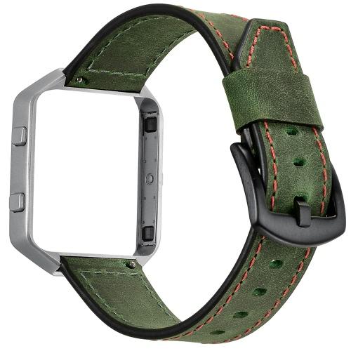 [Com Moldura] Pull-up Genuine Leather Replacement Pulseira Bracelet Bracelet para Fitbit Blaze Fitness Smart Watch