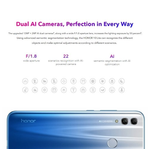 Global Version Huawei Honor 10 Lite 6.21inch FHD 3GB RAM 64GB ROM 24MP+13MP Cameras Android 9.0 Kirin 710 Octa Core 3400mAh Fingerprint 4G Unlocked Smartphone PZ0453SBL-US
