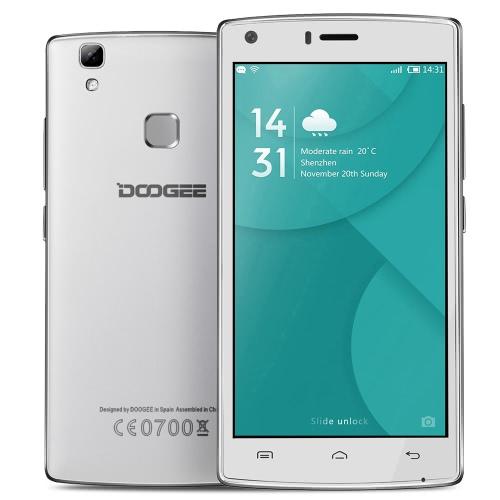 DOOGEE X 5 MAX Smartphone 3G WCDMA MTK6580 5.0 ″ IPS HD 1280 * 720 Pixels de tela Android 6,0 1 G + 8G 8MP + impressão digital Dual câmeras de 8MP desbloquear gesto inteligente