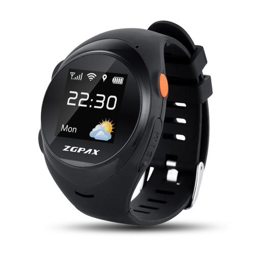 アンドロイドiOSのスマートフォン用ZGPAX S888エルダーGPS追跡腕時計の電話は2G GSMスマートウォッチの1.2inch 240 * 240pixel TPSカラフルな画面MTK6260 CPUのGPS + WiFiの場所のトラッキングオンラインSOSアンチ落下遠隔監視音声インターホン双方向会話