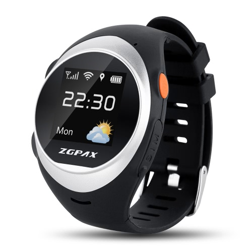 ZGPAX S888 Elder GPS Tracking Watch Phone 2G GSM Smartwatch 1.2inch 240 * 240pixel TPS tela colorida MTK6260 GPS CPU + WiFi Localização Rastreamento On-line SOS Anti-queda de Monitorização Remota de voz Intercom Two Way Conversation para Android iOS Smartphones