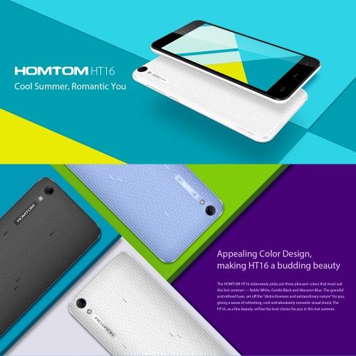 HOMTOM HT16 Smartphone 3G WCDMA del Android 6.0 OS Marshmallow Quad Core MTK6580 5.0 Modalità di risparmio energetico schermo 1GB di RAM 8GB di ROM 5MP 8MP Doppio smart camera gesti Wake Gesture