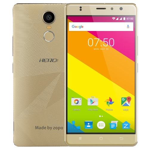 ZOPO HERO 2 Smartphone 5.5inch HD IPS Screen 4G LTE MTK6737 Quad-core CPU 1GB RAM 16GB ROM Android 6.0 OS 2.0M+8.0M Dual Camera 2300mAh Battery Fingerprint OTG GPS WiFi