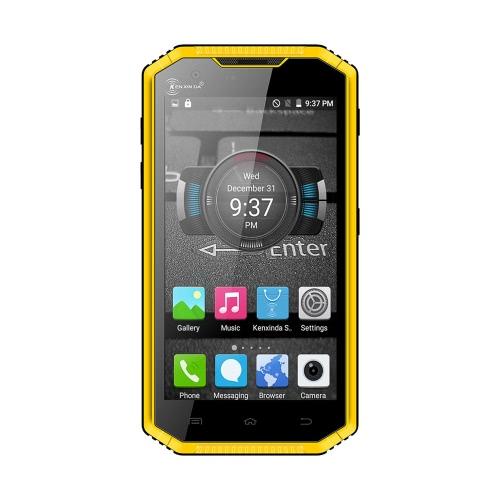 Ken Xin Da W7 Rugged Tablet Phone IP68 Outdoor résistant aux chocs imperméable à la poussière Chute-résistantes 4G FDD-LTE 3G WCDMA MTK6735P Quad Core 5.0 pouces HD 1280 * 720 pixels Écran Android 5.1 1GB RAM + 16GB ROM 5MP + 8MP Caméras WiFi Flashlight