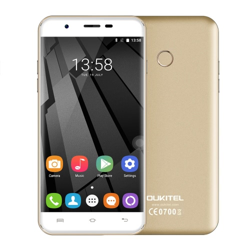 OUKITEL U7 original et 4G FDD-LTE Smartphone 5.5inch écran HD 1280 * 720px MTK6737 Quad Core 1.3GHz CPU 2 Go de RAM 16GB ROM Android 6.0 OS 13.0MP Caméra 2500mAh Battery Fingerprint GPS WiFi OTA BT 4.0