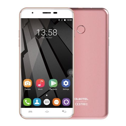 OUKITEL Original U7 Além disso 4G FDD-LTE Smartphone 5.5inch HD de tela 1280 * 720px MTK6737 Quad Core 1.3GHz CPU 2 GB de RAM 16GB ROM Android 6.0 OS 13.0MP câmera 2500mAh Bateria Fingerprint GPS WiFi OTA BT 4.0