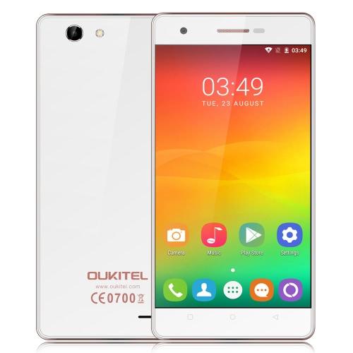 OUKITEL C4 Smartphone 4G FDD-LTE 3G WCDMA MTK6737 Quad Core de 64 bits 1.3GHz 5,0 polegadas HD 1280 * 720 pixels da tela Android Marshmallow 1GB de RAM + 8GB ROM 5MP + 8MP Rádio FM OTA 6.0 Câmeras Dual Ultra-fino WiFi GPS