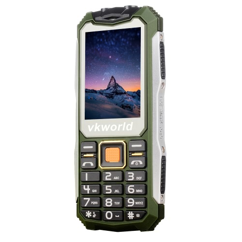 vkworld Stone V3S Bar Feature Phone 2G GSM SPARD6531D 2.4 Inches 240*320Pixels Screen 32M+32M 0.3MP Back Camera Video Audio FM Radio TF Card Big Keys Loud Volume Dual Flash Light 2200mAh