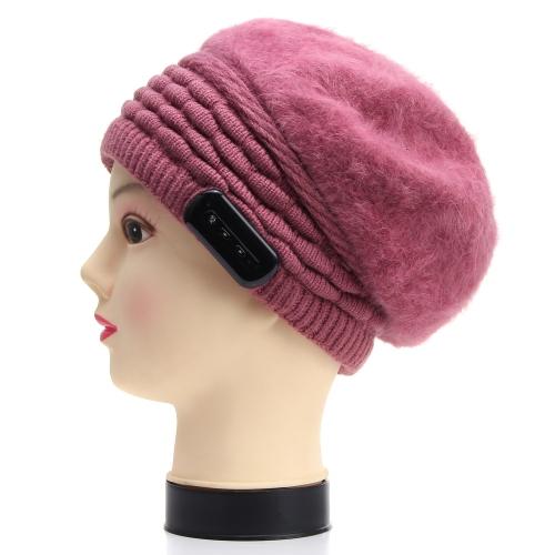 Moderno Quente Fone de Cabeça Inverno BT Fone de Ouvido Chapéu para Mulheres Tricô de Lã Ouvir música Respostar Telefone Coelho Cabelo Chapéu de Aba