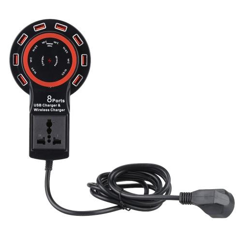 2 en 1 USB chargeur 12 a 8 Ports alimenté Qi Wireless Charging