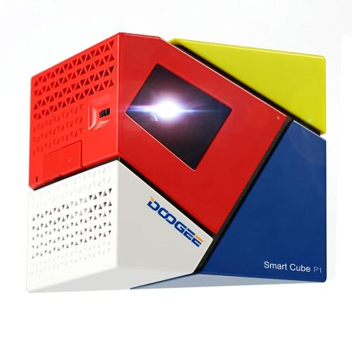 DOOGEE Cube P1 Smart Mini LED Projector Andriod4.4 Amlogic Quad Core WVGA 70 lumen Contrast Ratio 800 : 1 Projector  Ratio 16:9 Projection USB OTG OTA Louderspeaker Box
